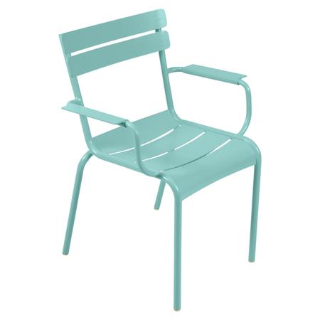 Fermob Luxembourg Stuhl Lagunenblau 46  Stuhl mit Armlehnen