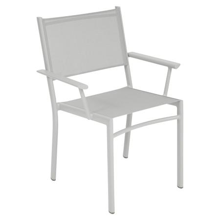 Fermob Stuhl Costa Metallgrau / Silber 38 mit Amlehnen