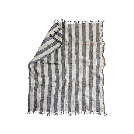 Linen beach towel stripes color browm grande