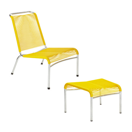 Lounger mt hocker gelb