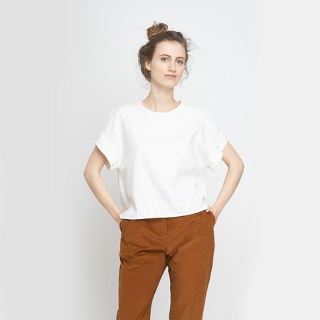 Jf aw18 lookbook emily shirt white macondo trousers ochre 1