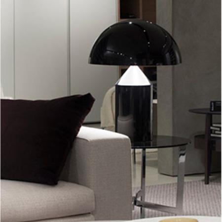 Oluce atollo 233 lampada da tavolo 2x100w e27 dimmer nero