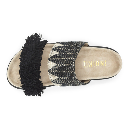 Sandale Slipper Raffia Black Inuikii