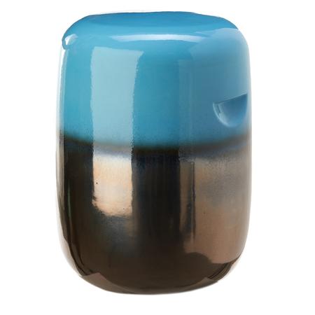Keramik Hocker in Blau-Bronze