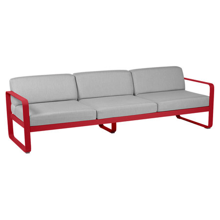 Fermob Outdoor 3-Sitzer Sofa 'Bellevie'  Mohnrot 67,  Flanellgrau
