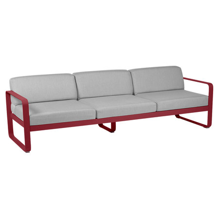 Fermob Outdoor 3-Sitzer Sofa 'Bellevie'  Chili 43,  Flanellgrau