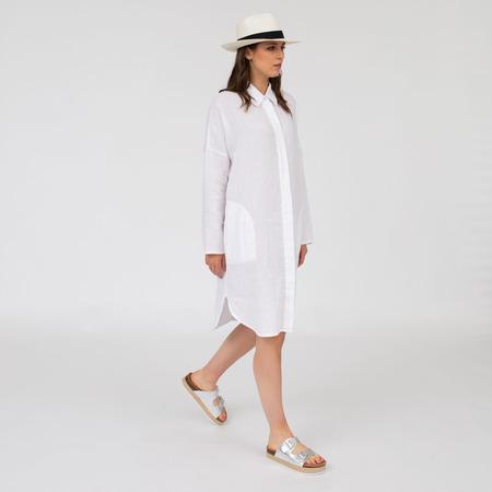 Weisses Blusenkleid aus reinem Leinen Weiss
