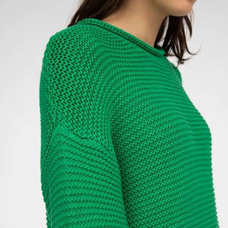Lockerer Baumwoll-Pullover in Grün