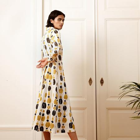 Cleyton Dress Kauri Block Print von Komana