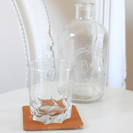Glasuntersetzer aus Leder von 'Ma Trouvaille'