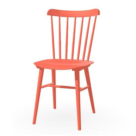 Ton Stuhl im Retro-Stil für den Esstisch  Eiche Pigmentiert Korallorange (B42),  Helle Kunststoffgleiter