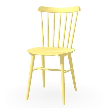 Ton Stuhl im Retro-Stil für den Esstisch  Eiche Pigmentiert Cremiges Gelb (B 44),  Dunkle Filzgleiter