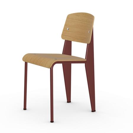 Vitra Jean Prouvé Stuhl Standard  Gleiter für Teppichboden,  Japanese Red – Rot,  Eiche Natur
