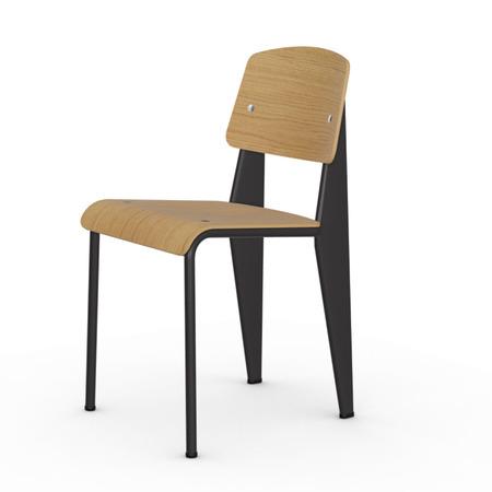 Vitra Jean Prouvé Stuhl Standard  Gleiter für Teppichboden,  Tiefschwarz,  Eiche Natur