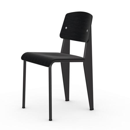 Vitra Jean Prouvé Stuhl Standard  Gleiter für Teppichboden,  Tiefschwarz,  Nussbaum Schwarz pigmentiert