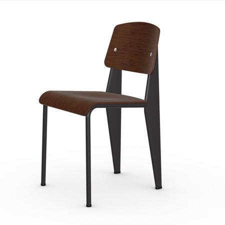 Vitra Jean Prouvé Stuhl Standard  Gleiter für Teppichboden,  Tiefschwarz,  Eiche Dunkel