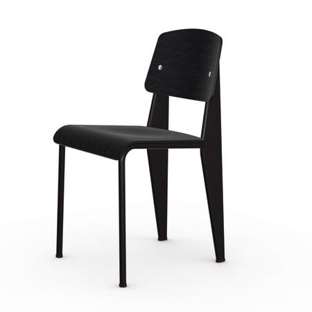 Vitra Jean Prouvé Stuhl Standard  Gleiter für Teppichboden,  Chocolate – Dunkelbraun,  Nussbaum Schwarz pigmentiert