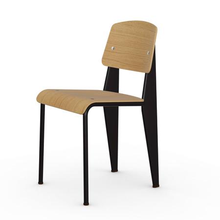 Vitra Jean Prouvé Stuhl Standard  Gleiter für Teppichboden,  Chocolate – Dunkelbraun,  Eiche Natur