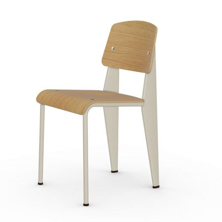 Vitra Jean Prouvé Stuhl Standard  Gleiter für Teppichboden,  Ecru – Beige,  Eiche Natur