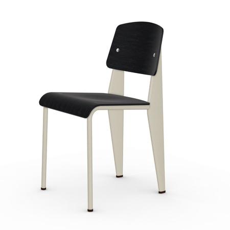 Vitra Jean Prouvé Stuhl Standard  Gleiter für Teppichboden,  Ecru – Beige,  Nussbaum Schwarz pigmentiert