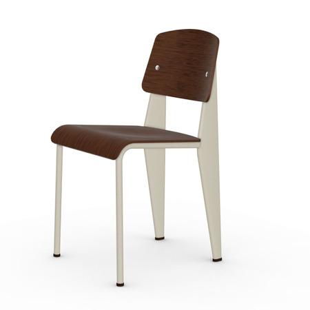 Vitra Jean Prouvé Stuhl Standard  Gleiter für Teppichboden,  Ecru – Beige,  Eiche Dunkel