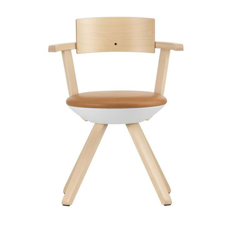 Artek Stuhl 'Rival Chair'  Silber Birke,  Leder - Caramel