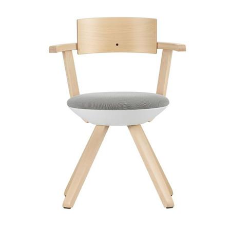 Artek Stuhl 'Rival Chair'  Silber Birke,  3D-Strick - Schwarz/Weiss