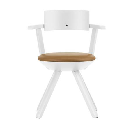 Artek Stuhl 'Rival Chair'  Weiss,  Leder - Caramel