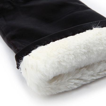 Fellgefütterte Lederhandschuhe schwarz 2