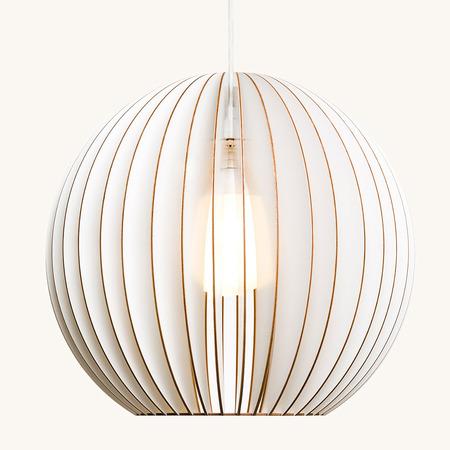 Iumi design lampe aus holz aion40 weiss kabel weiss