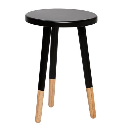 Schwarzer hocker mit holzbeinen for Schwarzer kleiner tisch