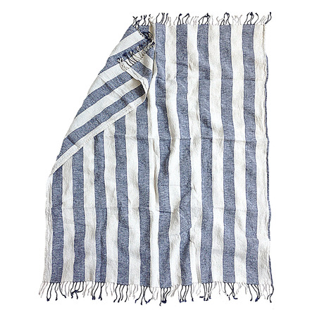 Naughty linen boho beach towel blue