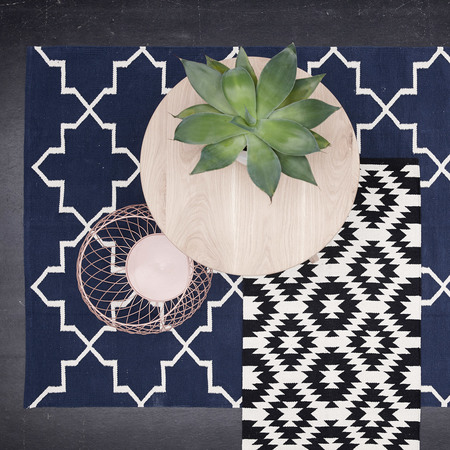 Ornamentaler Teppich In Blau Natur