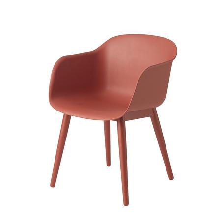 Fiber chair woodbase dusty red whitebg