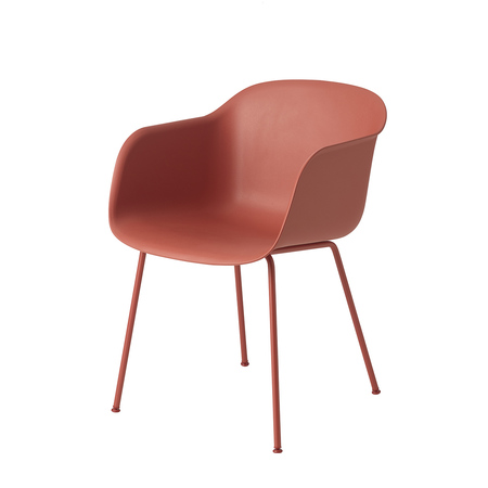 Fiber chair tubebase dusty red front whitebg