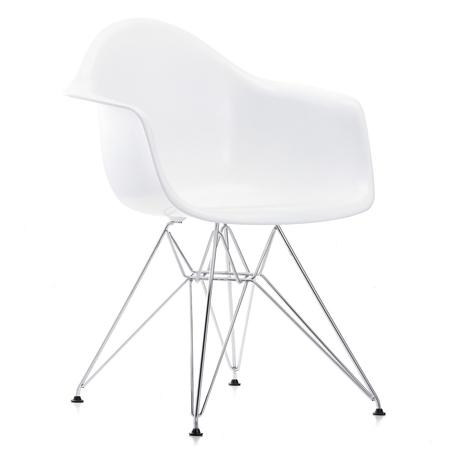 Vitra eames plastic armchair dar verchromt weiss