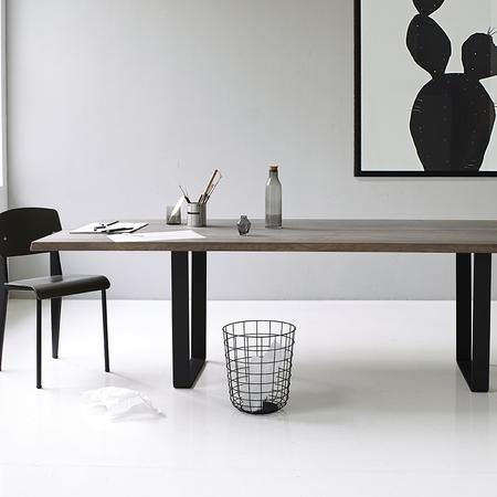 Dk3 lowlight table from side oak grey oil black legs styled