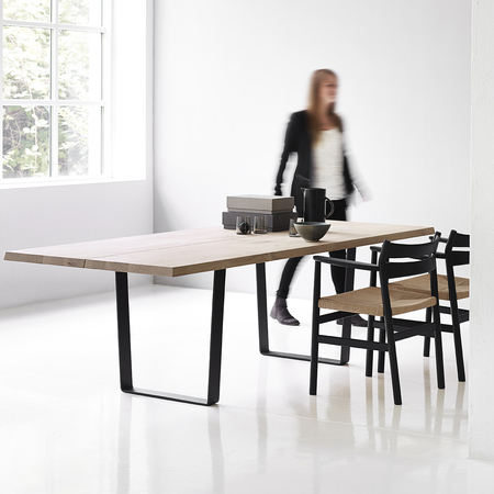 Dk3 lowlight table with bm2 chair oak oil black legs styled 2