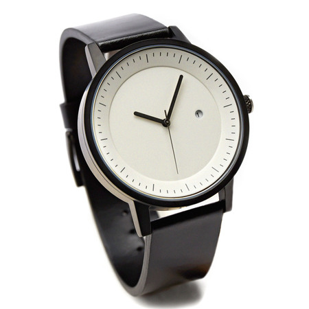 Simple watch co earl timepiece black white angle