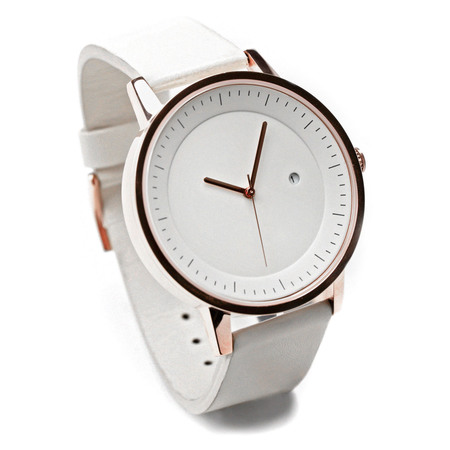 Simple watch co earl timepiece cream gold white angle