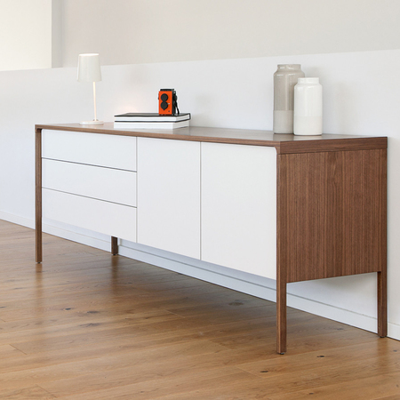 Tactile sideboard with white doors walnut frame