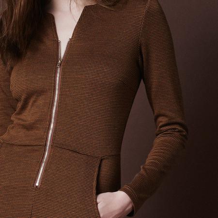 Frauenbekleidung kleider viskose braun loreen pepita 2