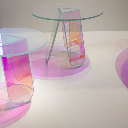 Glass shimmer tavoli glass console tables from patricia urquiola