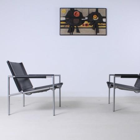 Martin visser sz02 lounge chair vintage saddle leather black sz 02 spectrum 1965 10