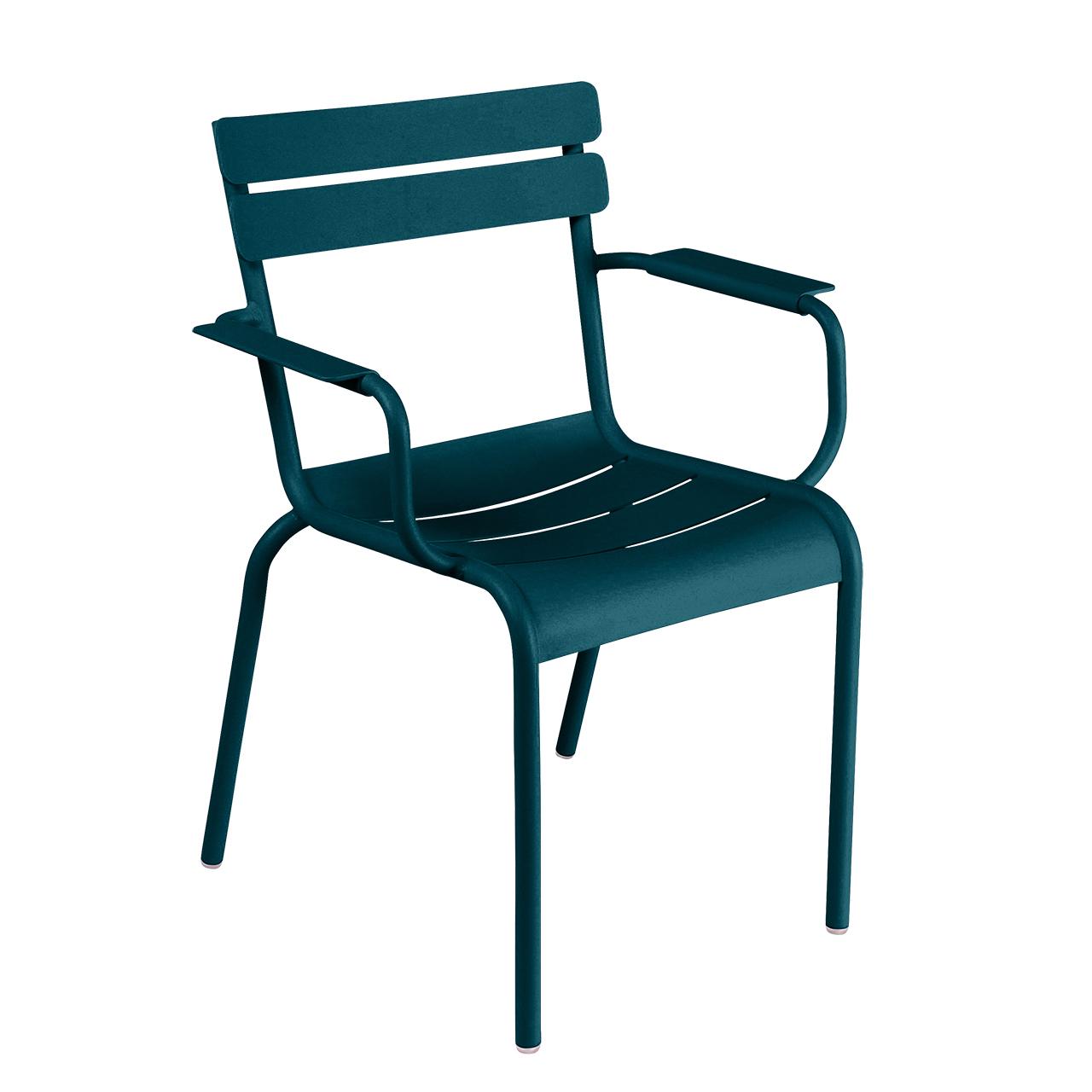 Fermob Luxembourg Stuhl  Stuhl mit Armlehnen,  Acapulcoblau 21 NEU