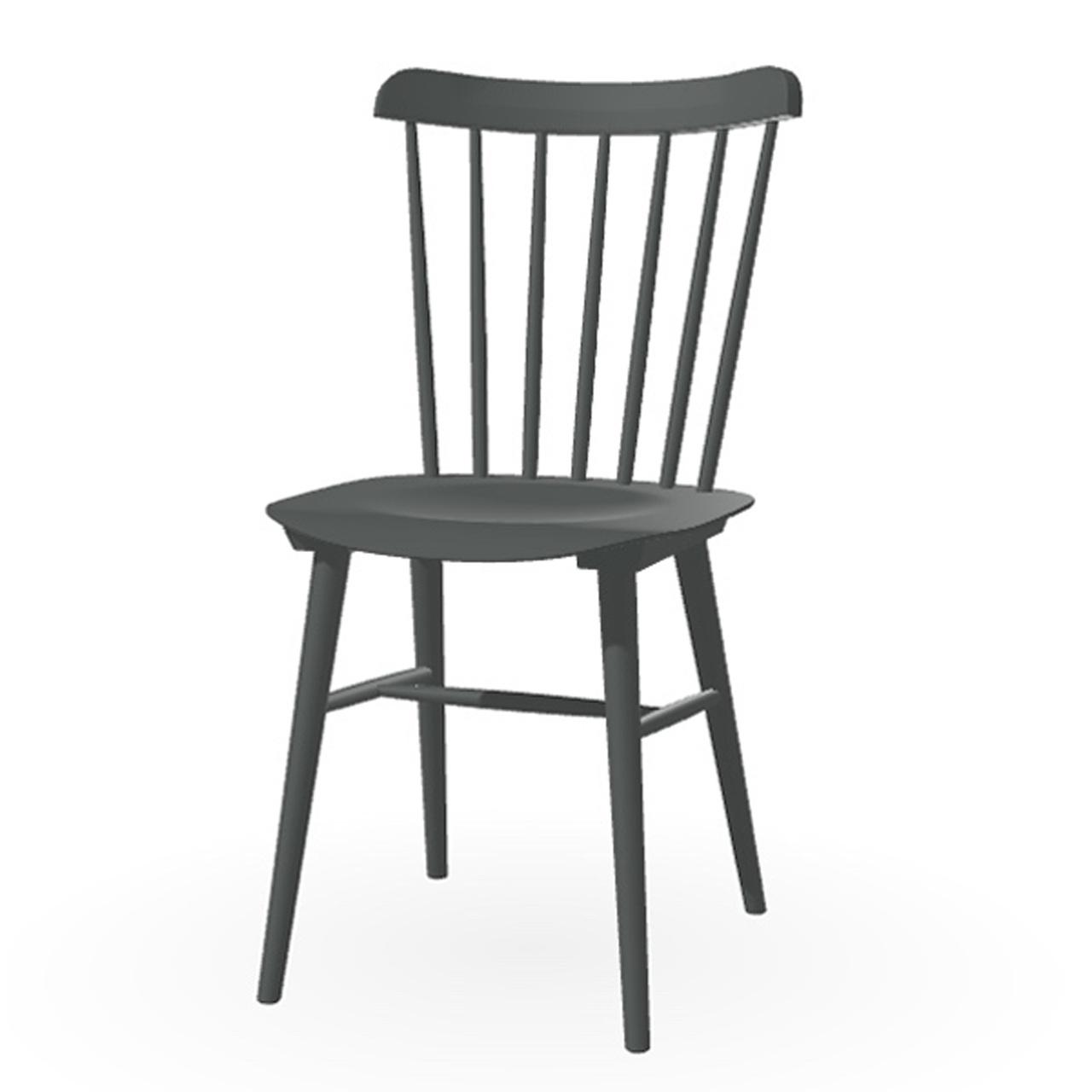 Ton Stuhl im Retro-Stil für den Esstisch  Eiche Pigmentiert Dunkelgrau (B 38),  Dunkle Filzgleiter
