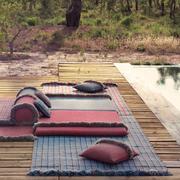 Garden layers checks blue rug gan rugs