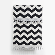 Handloom cotton towels black zigzag handloom turkish towels pom pom 1 1024x1024