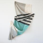 Fairtrade-Schal mit Karo-Streifen mint
