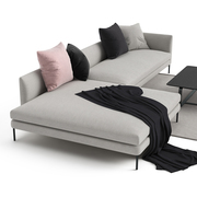 Sofa 'Blade' mit Chaiselongue im Stoff 'Studio'